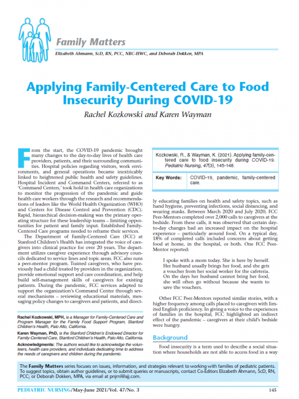 Applying Family-Centered Care to Food Insecurity During COVID-19