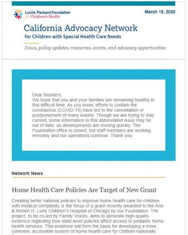 Image of the Network Newsletter